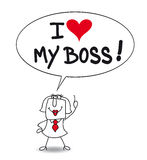 I love my boss. Karen, the businesswoman says that she loves his boss. Is she sincere or is she a bootlicker Stock Images