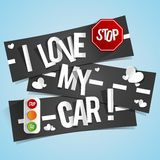 I Love My Car Banners Royalty Free Stock Photo