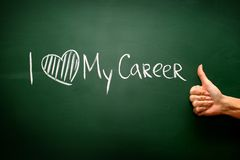 I love my career sign on blackboard Royalty Free Stock Photo