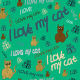 I-love-my-cat. Seamless pattern with text I love my cat. Lime green background. For printing on packaging, bags, cups, laptop, furniture, etc. Vector Stock Image