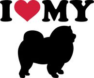 I love my Chow-chow silhouette. I love my Chow-chow with red heart and silhouette Stock Images