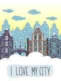 I love my city decorative background. Illustration with houses and bridge. royalty free illustration