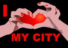 I love my City isolated on black Stock Image