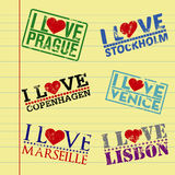 I love my city. Stamps on a vector paper background Royalty Free Stock Photo