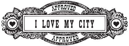 I love my city. A vintage marker in the form of a stamp is approved Royalty Free Stock Photo
