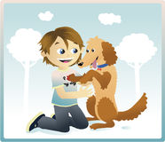 I love my dog. A kid playing in a park with his lovely dog Stock Photography