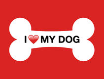 I love my dog cartoon bone Royalty Free Stock Photos