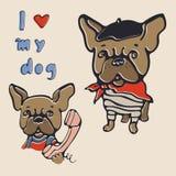 I love my dog. Illustration with french bulldog royalty free stock photo