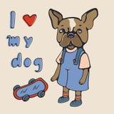 I love my dog. Illustration with french bulldog royalty free stock photography