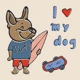 I love my dog. Illustration with french bulldog stock image
