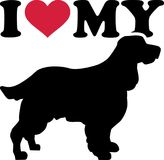 I love my English Springer Spaniel silhouette. I love my English Springer Spaniel with red heart and silhouette Stock Image