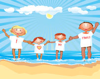 I love my family. Family on the vacation, dressed in similar T-Shirt with text I love my family. This image is a  illustration and can be scaled to any size Royalty Free Stock Photo
