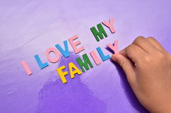 I LOVE MY FAMILY concept with colourful alphabet Stock Images
