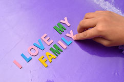 I LOVE MY FAMILY concept with colourful alphabet Royalty Free Stock Photo