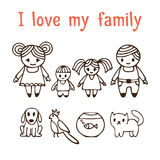 I love my family. Happy family with two children in cartoon styl Stock Photography