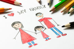 I love my family. Kid drawing of happy family, father, mother and daughter hold hands together Royalty Free Stock Photography