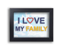I love my family text on black frame with sky background Stock Photos