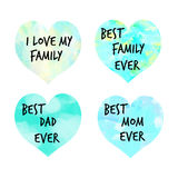 I love my family written in colorful hearts Stock Photos