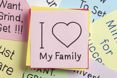 I love My Family written on a note Stock Image
