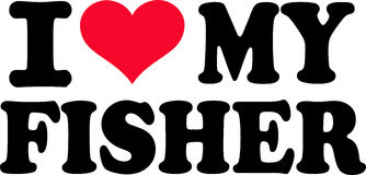 I love my fisher. With red heart Royalty Free Stock Image