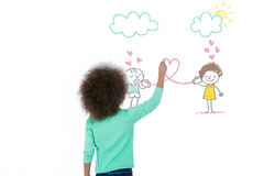 I love my friends. Sweet girl drawing two little children on a wall Royalty Free Stock Images