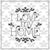 I love my Home lettering in frame on seamless Royalty Free Stock Photos
