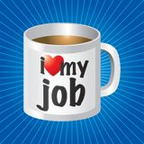 I love my job coffee mug on blue starburst Stock Image