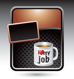 I love my job coffee mug on bronze stylized ad Royalty Free Stock Photo