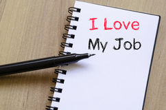 I love my job concept on notebook Royalty Free Stock Photos