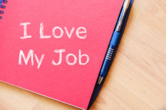 I love my job concept on notebook Royalty Free Stock Photo