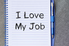 I love my job concept on notebook Stock Photography