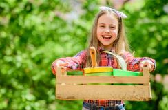 I love my job. little girl kid in forest. summer farm. Happy childhood. little girl with gardening tools. earth day royalty free stock photo