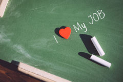 I love my job phrase handwritten Royalty Free Stock Image