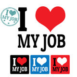 I love My job sign and labels Royalty Free Stock Photography