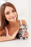 I love my little kitten! Stock Image