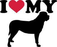 I love my mastiff silhouette. I love my mastiff with red heart and silhouette Stock Images
