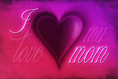 I love my mom. Graphic card with hearts theme and text I love my mom Vector Illustration