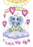 I love my mom, watercolour poster for nursery. Cute character, little elephant vector illustration