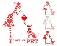 I love my pet. Girl and dog fill heart. Symbols that resemble the pets in the house stock illustration