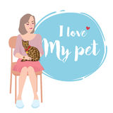 I Love My Pet - Girl sitting with her cat. Vector Stock Photo