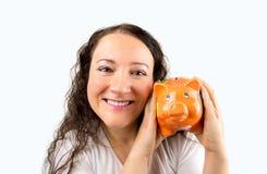 I love my piggy bank savings Royalty Free Stock Photos