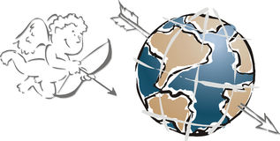 I love my planet. A cupid and the earth stock illustration