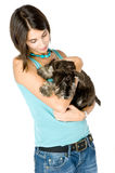 I love my puppy. Pretty owner hugging her puppy stock photography