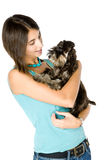 I love my puppy. Pretty owner hugging her puppy stock image
