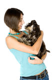 I love my puppy. Pretty owner hugging her puppy stock images