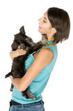 I love my puppy. Pretty owner hugging her puppy royalty free stock image