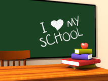 I love my school. 3D render of the inside of a classroom with I love my school written on the chalkboard Royalty Free Stock Photography