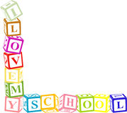 I love my school. I love my school (colored blocks Royalty Free Stock Images