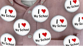 I Love My School Buttons Pins Shirt Education Teacher Student Royalty Free Stock Images