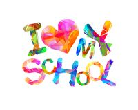 I love my school. Triangular letters. I love my school. Vector triangular letters Royalty Free Stock Images